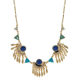Nine West Vintage America Collection® Goldtone And Blue Frontal Necklace plus size,  plus size fashion plus size appare