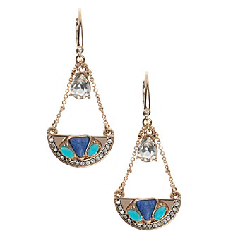 Nine West Vintage America Collection® Goldtone And Blue Medium Drop Earrings
