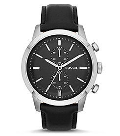Fossil® Men's Townsman In Silvertone With Black Leather Strap
