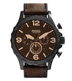 Fossil® Men's Nate Watch In Black Tone With Dark Brown Leather Strap