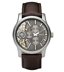 Fossil® Men's Mechanical Twist Watch In Silvertone With Dark Brown Leather Strap