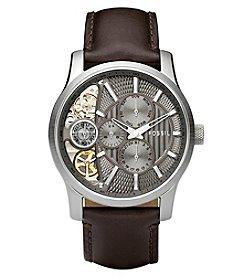 Fossil® Men's Mechanical Twist Watch In Silvertone With Dark Brown Leather Strap