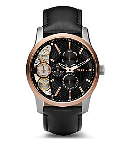 Fossil® Men's Other Watch In Two Tone  With Black Leather Strap