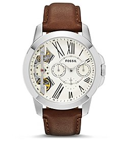 Fossil® Men's Grant Watch In Silvertone With Dark Brown Leather Strap