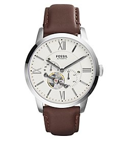 Fossil® Men's Townsman Watch In Silvertone With Dark Brown Leather Strap