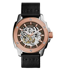 Fossil® Men's Modern Machine Watch In Rose Goldtone With Black Leather Strap