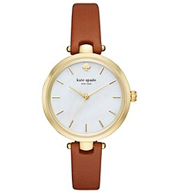 kate spade new york® Women's Luggage Leather And Goldtone Holland Watch