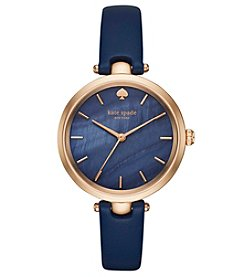 kate spade new york® Women's Navy Leather And Rose Goldtone Holland Watch