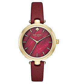 kate spade new york® Women's Merlot Leather And Goldtone Holland Watch