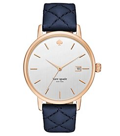 kate spade new york® Women's Navy Leather And Rose Goldtone Grand Metro Watch