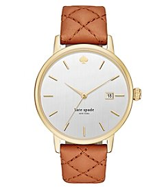 kate spade new york® Women's Luggage Leather And Goldtone Grand Metro Watch