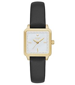 kate spade new york® Black Leather Goldtone Washington Square Watch