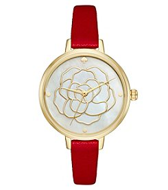 kate spade new york® Women's Red Leather And Goldtone Metro Watch