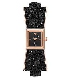 kate spade new york® Women's Black and Rose Goldtone Kenmare Watch