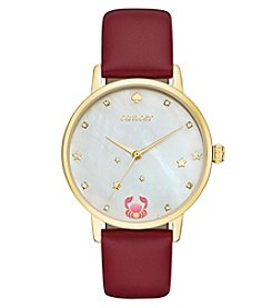 kate spade new york® Merlot Leather and Goldtone Cancer Metro Watch