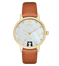 kate spade new york® Luggage Leather and Goldtone Gemini Metro Watch