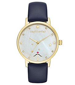 kate spade new york® Navy Leather and Goldtone Sagittarius Metro Watch