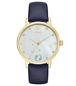 kate spade new york® Navy Leather and Goldtone Pisces Metro Watch
