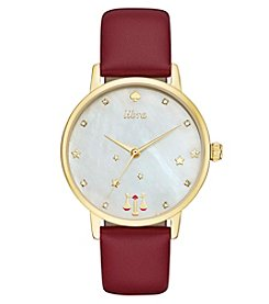 kate spade new york® Merlot Leather and Goldtone Libra Metro Watch