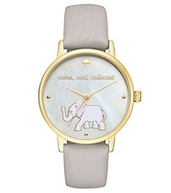 kate spade new york® Gray Leather and Goldtone Metro Watch