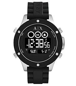 A X Armani Exchange Men's Silvertone Black Silicone Strap Digital Watch
