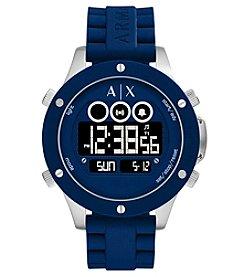 A X Armani Exchange Men's Silvertone Blue Silicone Strap Digital Watch
