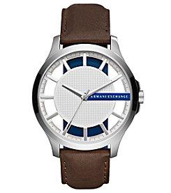 A|X Armani Exchange Men's Silvertone Brown Leather Strap Watch