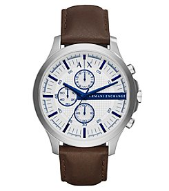 A|X Armani Exchange Men's Silvertone Brown Leather Strap With Iridescent Blue Watch