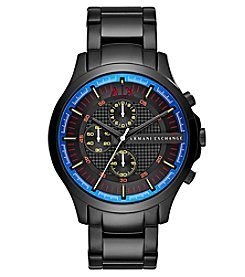 A|X Armani Exchange Men's Black IP Bracelet And Multi Color Detail Watch
