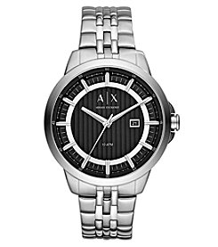 A|X Armani Exchange Men's Silvertone Stainless Steel With Black Dial Watch