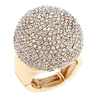 Erica Lyons® Goldtone Pave Dome Fashion Stretch Ring