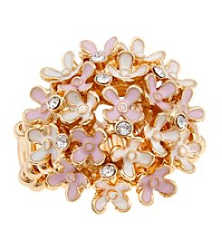 Erica Lyons® Goldtone Tiny Flowers Dome Fashion Stretch Ring