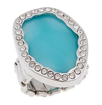Erica Lyons® Silvertone Organic Oval Fashion Stretch Ring