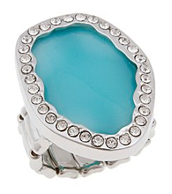 Erica Lyons® Silvertone Organic Oval Fashion Stretch Ring