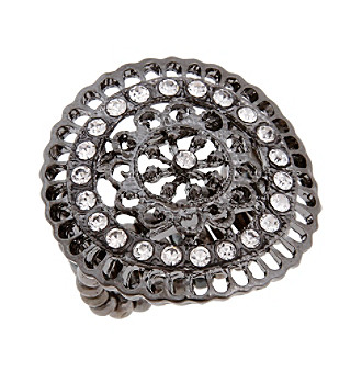 Erica Lyons® Hematite Tone Filigree Circle Fashion Stretch Ring