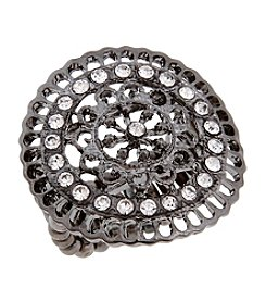 Erica Lyons® Hematite Tone Filigree Circle Fashion Stretch Ring
