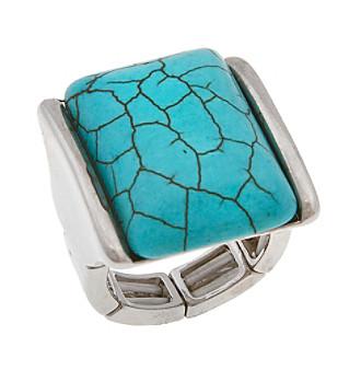 Erica Lyons® Silvertone Rectangle Fashion Stretch Ring