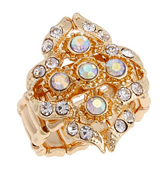 Erica Lyons® Goldtone Filigree Cluster Fashion Stretch Ring