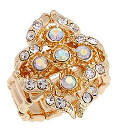 Erica Lyons® Goldtone Filigree Cluster Fashion Stretch Ring