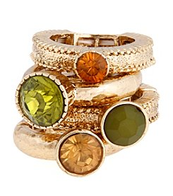 Erica Lyons® Goldtone Stack Of Four Fashion Stretch Rings