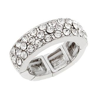Erica Lyons® Silvertone Wedding Band Fashion Stretch Ring
