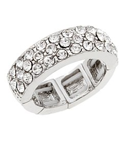 Erica Lyons® Silvertone Wedding Band Fashion Stretch Ring