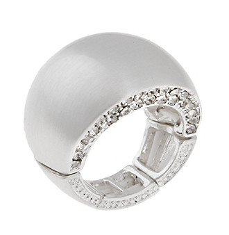 Erica Lyons® Silvertone Wide Band Fashion Stretch Ring