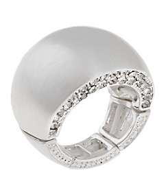 Erica Lyons® Silvertone Wide Band Fashion Stretch Ring