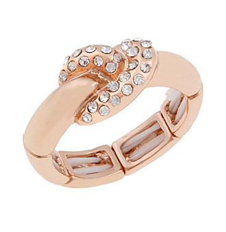Erica Lyons® Rose Goldtone Thin Knot Fashion Stretch Ring