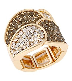 Erica Lyons® Goldtone Overlapping Petals Fashion Stretch Ring