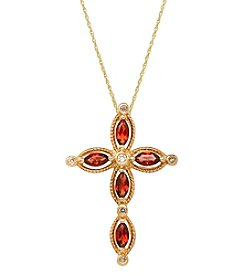 0.02 Ct. T.W. Diamond And Garnet Necklace In 14K Yellow Gold