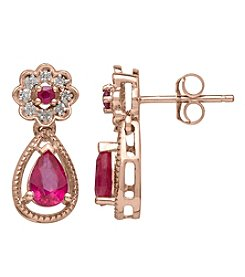 Ruby And .04 Ct. T.W. Diamond Earrings In 10K Rose Gold