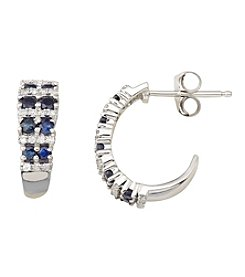Sapphire And 0.13 Ct. T.W. Diamond Earrings In 10K White Gold