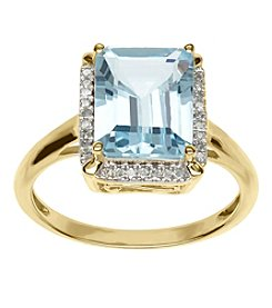 Sky Blue Topaz And 0.09 Ct. T.W. Diamond Ring In 10K Yellow Gold
